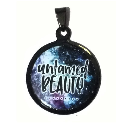 Untamed Beauty Quote Necklace Black Pendant with Chain