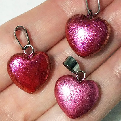 Set of 3 Deep Pink Heart Pendants (no necklace included)