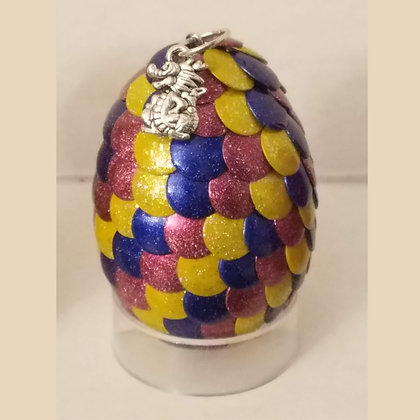 Pink Blue Yellow Multicolored 2 inch Dragon Egg with Charm