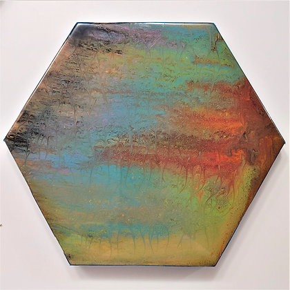 """""""Morning Dew"""" Hexagon Pour Painting"""
