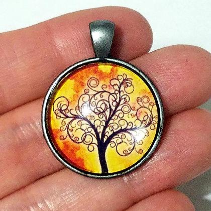 Orange Tree Round Necklace Pendant with Chain