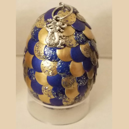 Gold Blue Glitter 2 inch Dragon Egg with Charm