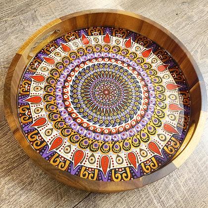 "15"" Painted Royalty Mandala Resin Acacia Wood Charcuterie Bo"
