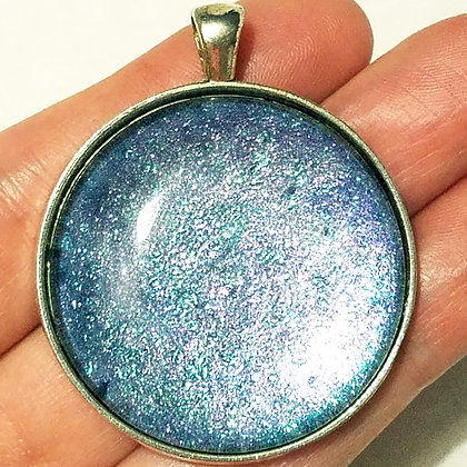 Blue Round Necklace Pendant with Chain