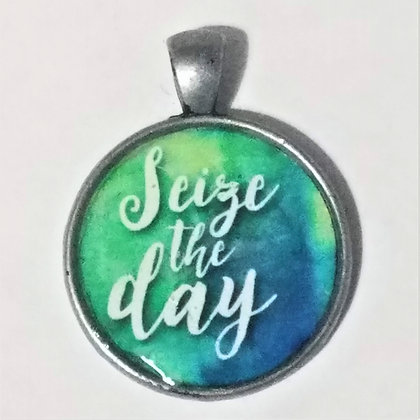 Seize The Day Quote Necklace Pendant with Chain