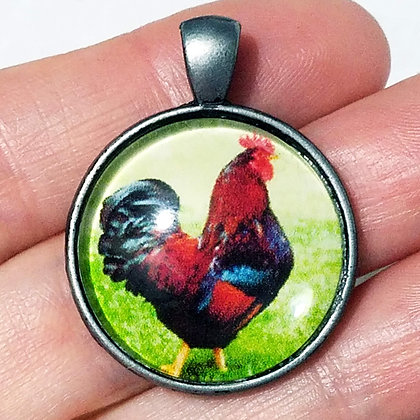 Silver Black Rooster Animal Pendant with Black Cord Necklace