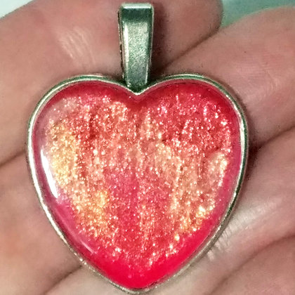 Gold Coral Colorshift Shimmering Heart Shaped Necklace Pendant with Chain