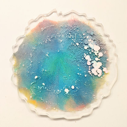 Clear Colorful Inked Resin Coaster