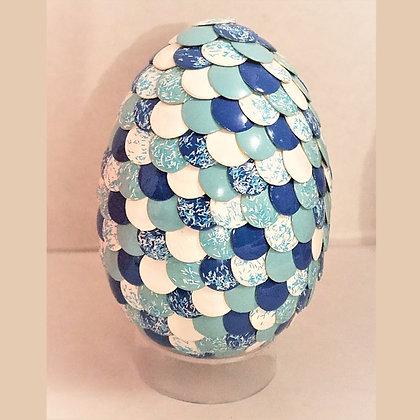 Multicolored Blue White Glitter 2.75 inch Dragon Egg