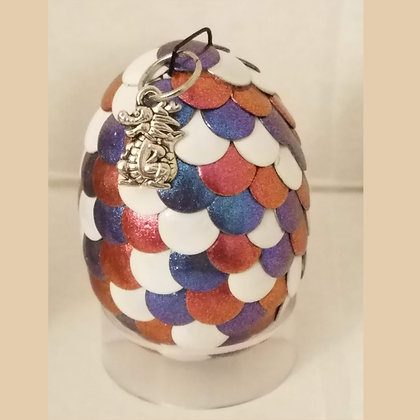 Red White Blue Multicolored 2 inch Dragon Egg with Charm
