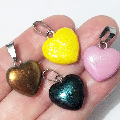 Set of 3 Mixed Glitter Heart Pendants (no necklace included)
