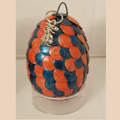 Orange Blue 2 inch Dragon Egg with Charm