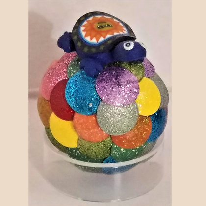 Multicolored 1.75 inch Dragon Egg with Turtle Charm