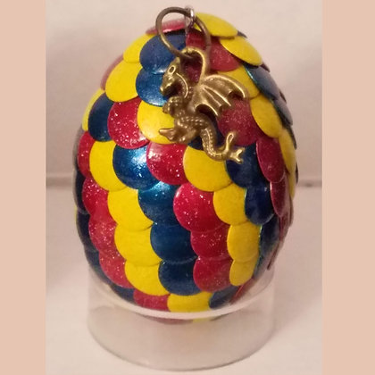 Multicolored Yellow 2 inch Dragon Egg with Charm