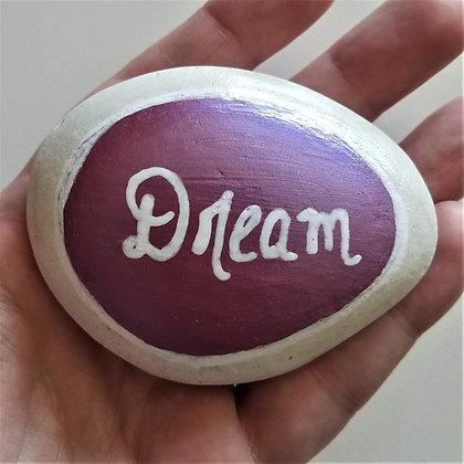 Handpainted Purple Colorshift Dream Quote Alaskan White Stone