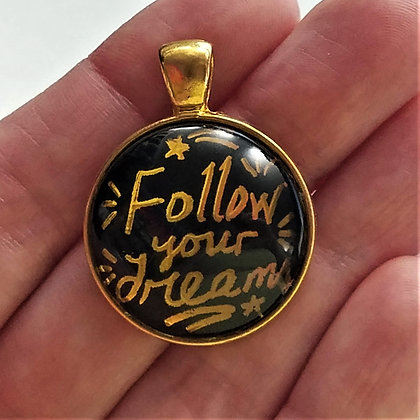 Gold Toned Follow Your Dreams Quote Pendant with Black Cord Necklace