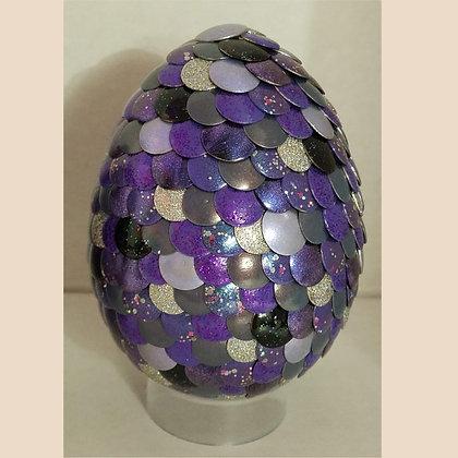 Purple Silver Glitter 3 inch Dragon Egg