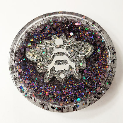 HandPainted Bee Sparkling Glitter Resin Coaster