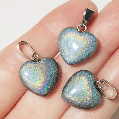 Set of 3 Holographic Silver Heart Pendants (no necklace included)
