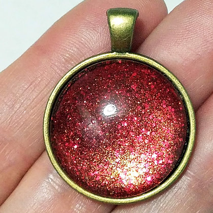 Gold Toned Shimmering Red Pendant with Black Cord Necklace