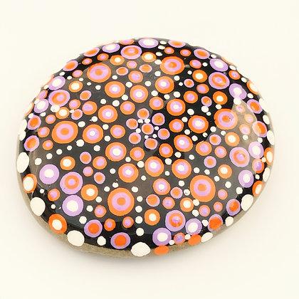 Handpainted Purple Orange Dotted Mandala Washington Stone