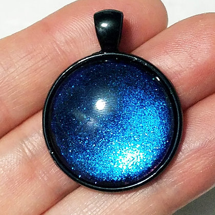 Blue Colorshift Black Pendant with Cord Necklace