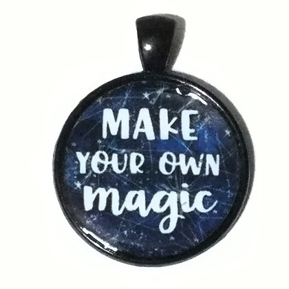 Make Your Own Magic Quote Black Pendant with Cord Necklace