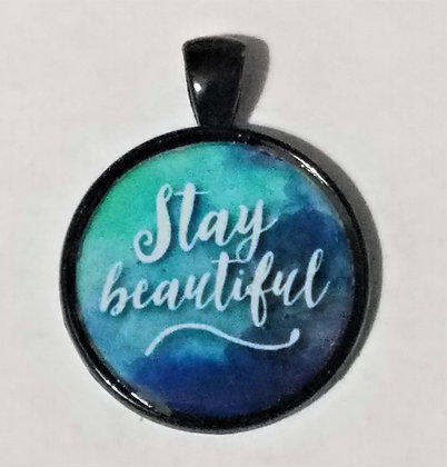 Stay Beautiful Quote Black Pendant with Cord Necklace