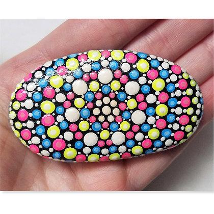 Handpainted Pink Blue Yellow Dotted Mandala Washington Stone