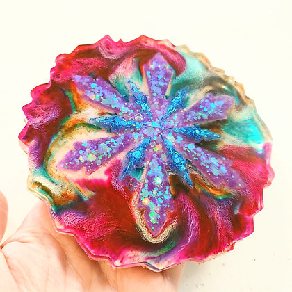 Holographic Sparkling & Alcohol Ink Colorful Resin Coaster