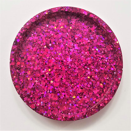 Deep Pink Sparkling Glitter Holographic Resin Coaster