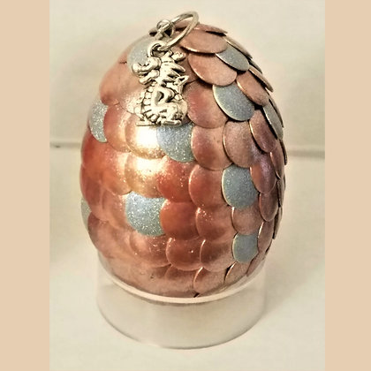 Copper Silver 2 inch Dragon Egg with Charm