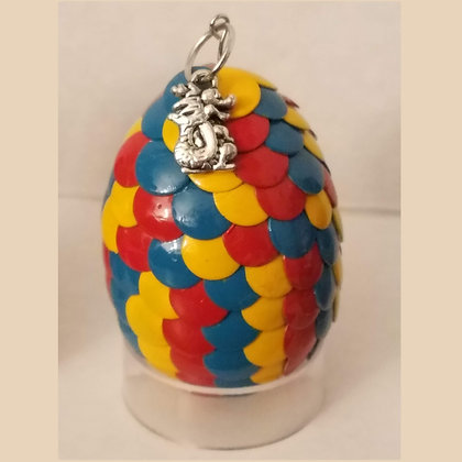 Blue Yellow Red Multicolored 2 inch Dragon Egg with Charm