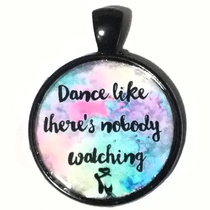 Dance Quote Black Pendant with Cord Necklace