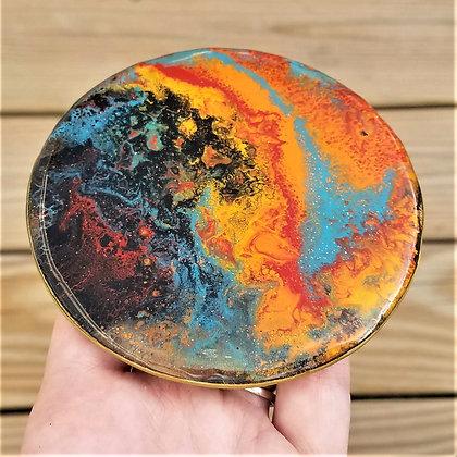 Handpainted Pour Painting Orange Blue Black Resin Coaster
