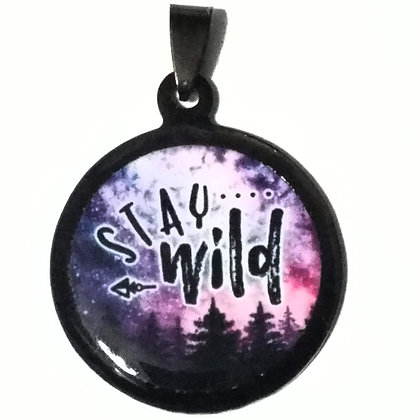 Stay Wild Necklace Black Pendant with Chain