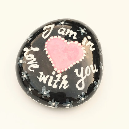Handpainted Dotted I am in Love with You Washington Quote Stone