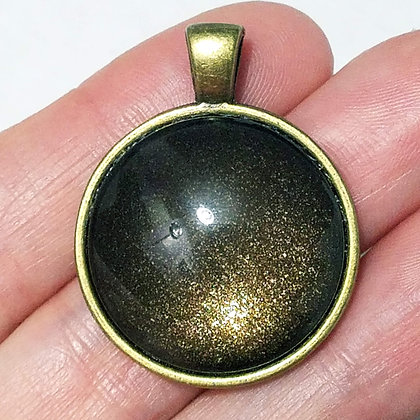 Gold Toned Shimmering Brown Pendant with Black Cord Necklace