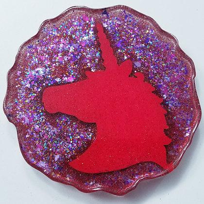 Red Sparkling Glitter Glitter Resin Unicorn Geode Coaster