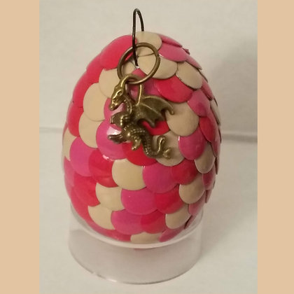 Pink Red Tan Multicolored 2 inch Dragon Egg with Charm