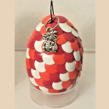 Pink Orange White Multicolored 2 inch Dragon Egg with Charm