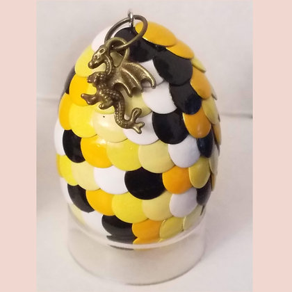 Yellow White Black Multicolored 2 inch Dragon Egg with Charm
