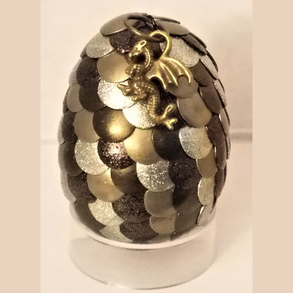 Silver Olive Green 2 inch Dragon Egg with Charm