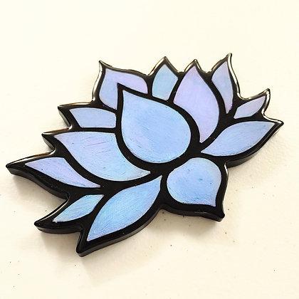 Iridescent Blue Resin Lotus Coaster