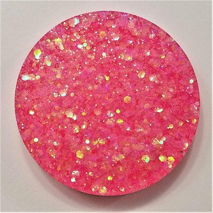 Set of 2, Small Sparkling Glitter Glitter Hot Pink Resin Coaster