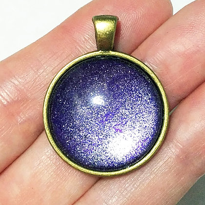 Gold Toned Shimmering Blue Purple Pendant with Black Cord Necklace
