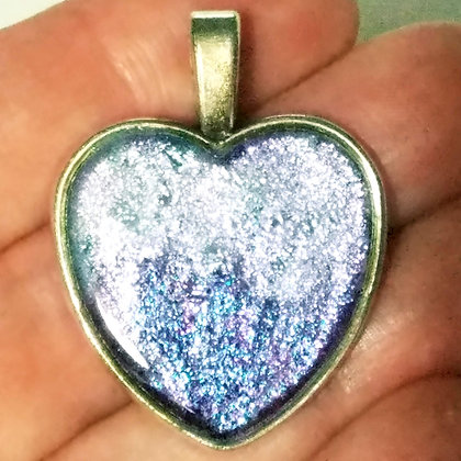 Blue Silver Shimmering Heart Shaped Necklace Pendant with Chain