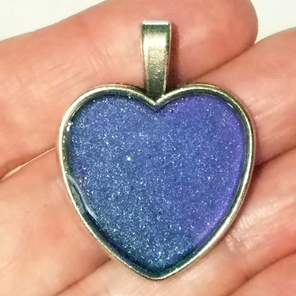 Blue Purple Shimmering Heart Shaped Necklace Pendant with Chain