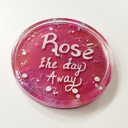 """Rose the Day Away"" Alcohol Ink Resin Coaster"