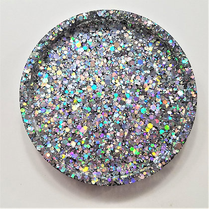 Sparkling Glitter Holographic Silver Resin Coaster